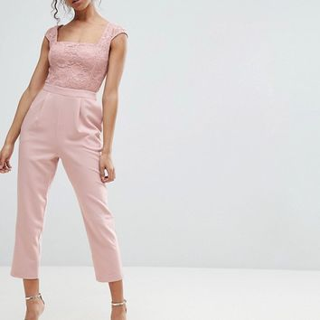 ASOS PETITE Lace Top Jumpsuit with Lattice Back | ASOS