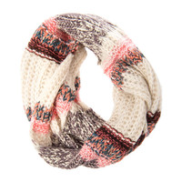 Multi-Pattern Knit Color Block Infinity Scarf