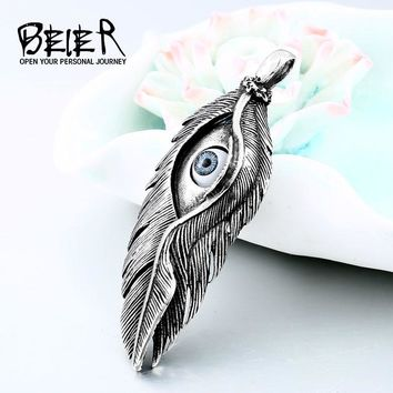 BEIER Vintag Stainless steel eEye Feather Pendant Necklace for Men  Japan Gothic Punk Male Lover Jewelry Gift LHP009