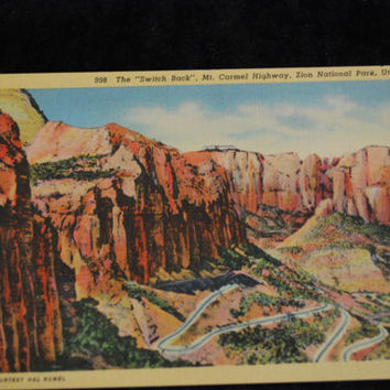 "Vintage - CT Art Colortone Postcard  - 998 The ""Switch Back"", Mt. Carmel Highway, Zion National Park, Utah"