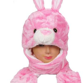 Pink Bunny Animal Winter Hat with Mittens