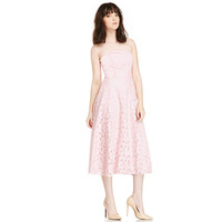 Pink Strapless Flower Lace Mid Dress