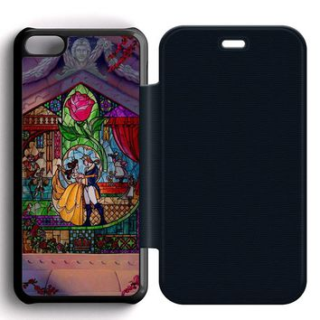 Beauty and The Beast Art Leather Wallet Flip Case iPhone 5C