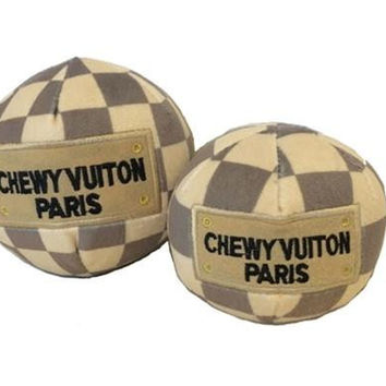 Chewy Vuiton Checker Ball Plush Dog Toy