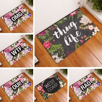 Floor Mat Vintage Flower Printed Suede Non Slip Shower Mat Bathroom Carpet Bath Mat 40x60cm OMG Toilet Rugs Home Decoration