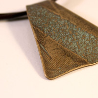 Roller Printed Brass Pendant Necklace- SoCal Inspired- Unisex- Sandpaper Texture- Green Patina- Adjustable Leather Cord