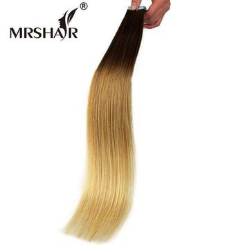 CREY78W MRSHAIR 22' Ombre Tape Extensions 20pcs Brazilian Straight Skin Weft Hair Non Remy Natural Human Hair Tape In T6/12/24#