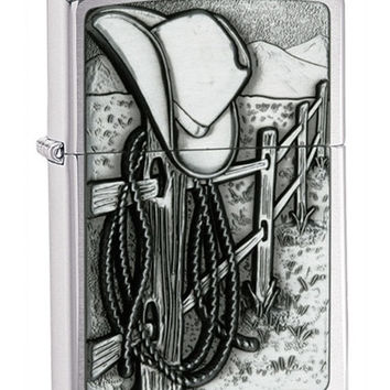 Zippo Cowboy Emblem Brushed Chrome Lighter