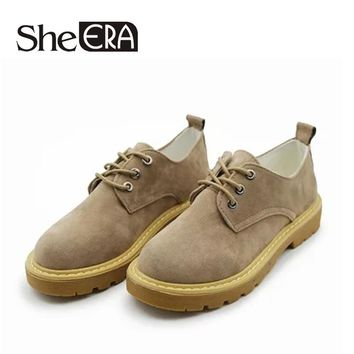 She ERA Autumn Women Shoes Woman Round Toe Platform Oxfords British Style Creepers Cut-Outs Flat Casual Women Shoes #ERA359