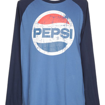 Blue Long Sleeve Pepsi T-Shirt - L | Womens | Rokit Vintage Clothing
