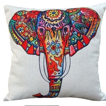 Tribal Boho Elephant Cotton Linen Throw Pillow