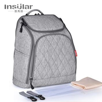 insular baby diaper backpack large capacity Diaper Bags solid mother maternity bag fashion infant care stroller bags organizer
