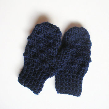 Crochet Toddler Mittens in Navy Blue Bobbles, ready to ship.