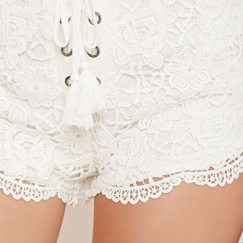 Lace-Up Crochet Shorts