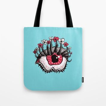Eye Melt - Weird Red Eye With Flower Eyelashes Tote Bag by borianagiormova