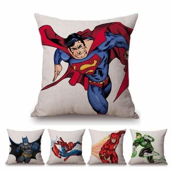 Batman Dark Knight gift Christmas Super Heroes Cartoon Sketch Superman The Atom Flash Spider man Batman Home Decorative Pillow For Sofa Cotton Linen Cushion Cover AT_71_6