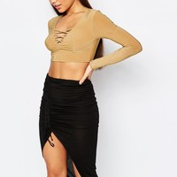 Club L | Club L Lattice Front Criss Cross Crop Top at ASOS