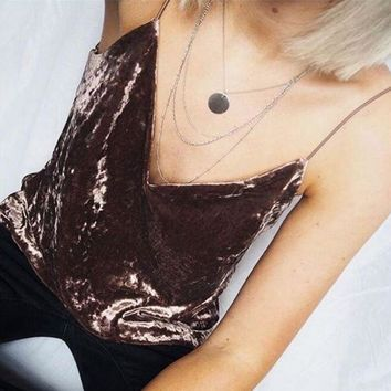 Hot Women's Velvet Deep V Neck Vest Hot Bralette Strap Beach Vest