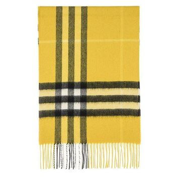 VONE05 Burberry Unisex Classic Check Cashmere Scarf Yellow