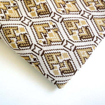 Aztec southwest fabric 1 yard of fall colors polyester vintage fabric in  brown beige and white