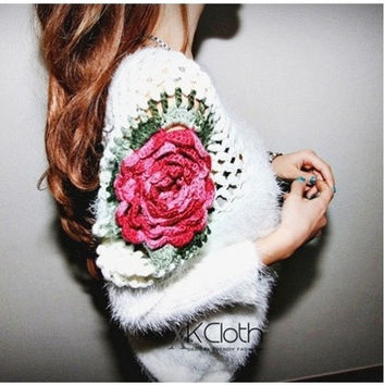 Embroidery Rose Sweater  Casual Sweater Cardigan Long Sleeves Knit Wear Outerwear Misery Jumper Tops