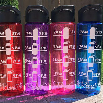 Water Bottle // Motivational Water Tracker // Gym // Hydration Tracker // 24 oz Plastic Bottle // Add Name Monogram Saying // CUSTOM COLORS