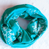 Frozen Infinity Scarf, Snowflake Infinity Scarf, Elsa Inspired Scarf, Winter Infinity Scarf, Christmas Holiday Scarf