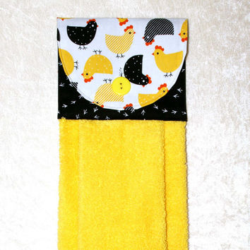 Kitchen Hand Towel • Hanging Dish Towel • Hanging Chicken Towel • Yellow & Black • Glamping • Dish Towel • Yellow Hand Towel • FREE SHIPPING