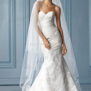 Luxury Sweetheart Mermaid Wedding Dresses Lace 2015 New Fashion Short Train Gowns New Arrival