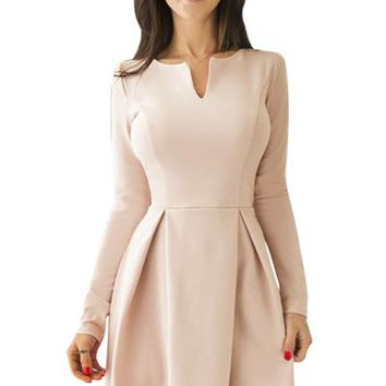 Chicloth Pink Long Sleeve V Neck Pleated Skater Dress