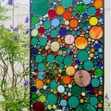 Handmade Stained Glass Art Abstract Circle Collage