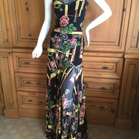 John Galliano Lace Trimmed Silk Floral Dress