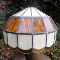 Tiffany Style Slag Glass Lamp Shade Leaded Glass Swag Light Lamp Vintage Glass Chandelier