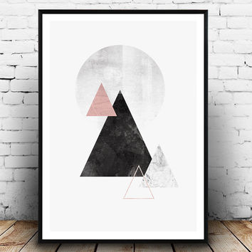 Minimalist print, Mountains print, Watercolor art, Geometric poster, black and pink, Marble print, Nordic style,  Triangle art, Home decor