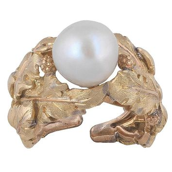 1980s Buccellati Japanese Cultured Round Pearl Yellow and Rose Gold Ring
