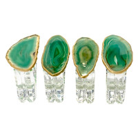 Mapleton Drive Napkin Rings with Agate (Set of 4) - Green