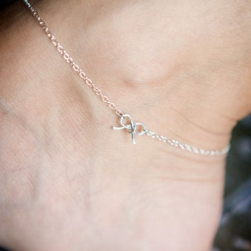 Sterling Silver Bow Anklet - Tiny Petite Wire Bow - Ankle Bracelet - - Mother's Day Gift