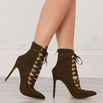 Pointed Toe Lace Up Heeled Booties in Black, Mauve and Olive