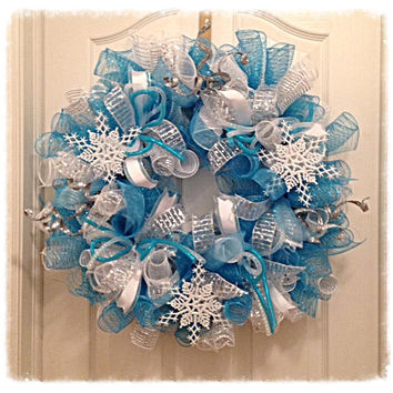 Snowflake Turquoise and Silver Deco Mesh Wreath/Christmas Deco Mesh Wreath/Snowflake Wreath/Turquoise and Silver Wreath/Christmas Wreath