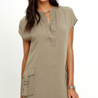 Sahara Safari Khaki Shift Dress