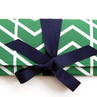 SALE Envelope clutch in emerald herringbone chevron with navy bow. The ALEXIS Clutch.