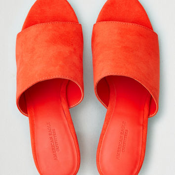 AE Block Heel Simple Slide Sandal, Red