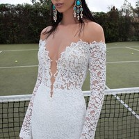 Berta Plunging V-Neck Long Sleeve Lace Dress (In Stores Only) | Nordstrom