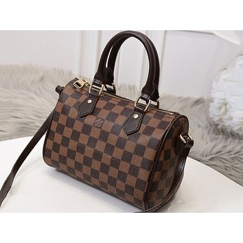 LV hot fashion coffee pattern full print ladies shoulder bag Coffee lattice