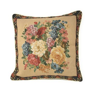 Tache 18 x 18 Inch Colorful Country Rustic Floral Morning Awakening Cushion Cover (TADB3089CC-B-4545)