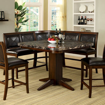 A.M.B. Furniture & Design :: Dining room furniture :: Counter Height dining sets :: 6 pc Living Stone III black faux marble top counter height dining table set with bench style seating