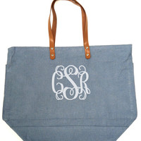 Monogrammed Large Jute Bag | Custom Preppy Burlap Tote | Marley Lilly