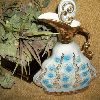 Jim Beam Whiskey Decanter Liquor Bottle Urn Ewer Pitcher by Regal China Gold Embellished Blue Floral Design