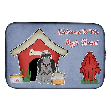 Dog House Collection Shih Tzu Black Silver Dish Drying Mat BB2843DDM