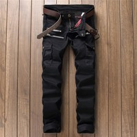 Men Hot Sale Slim Pants Zippers With Pocket Jeans [10766089603]